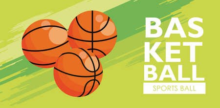 basketball sport balloons equipment icons vector illustration design