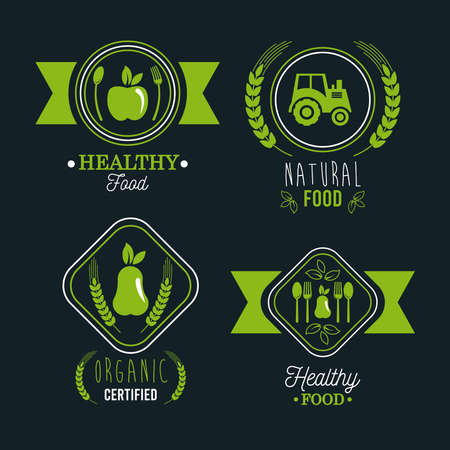 premium and healthy food poster with set icons vector illustration design