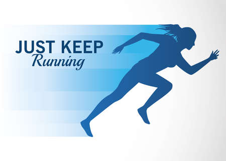 silhouette of athletic woman running with just keep message vector illustration design