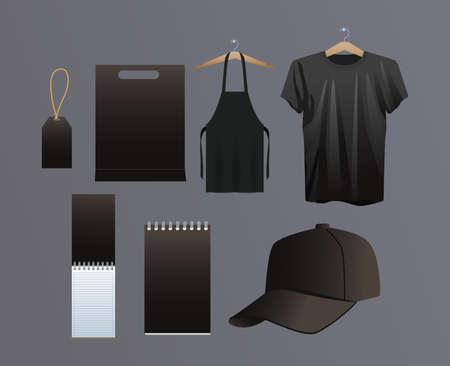 mockup ,branding and stationery set icons vector illustration design