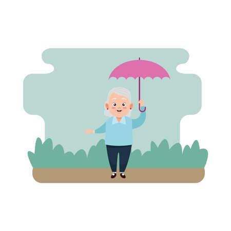 cute happy grandmother with umbrella avatar character vector illustration design