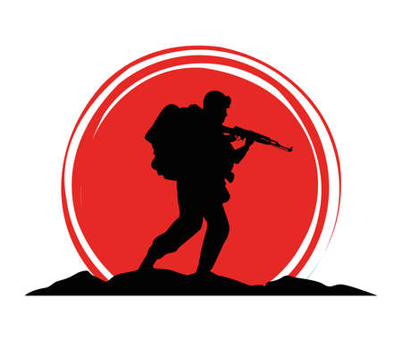 military soldier with gun silhouette figure vector illustration design