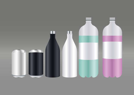 bottles and cans products packing branding icons vector illustration design 向量圖像