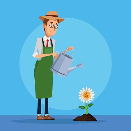 businessman cultivating money flower character vector illustration design