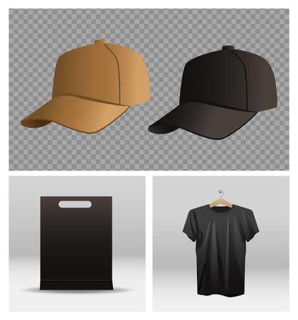 sport cap and shirt with branding shopping bag vector illustration design Stock Illustratie