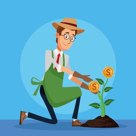 businessman cultivating money plant character vector illustration design