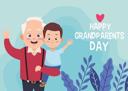 happy old grandfather with little grandson and lettering vector illustration design Ilustração Vetorial
