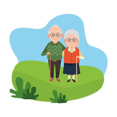 cute happy grandparents couple avatars characters vector illustration design Illustration