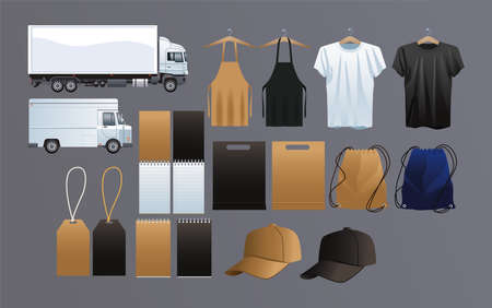 transport vehicles with mockup ,branding and stationery set icons vector illustration design