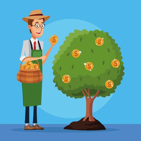 businessman cultivating money tree character vector illustration design