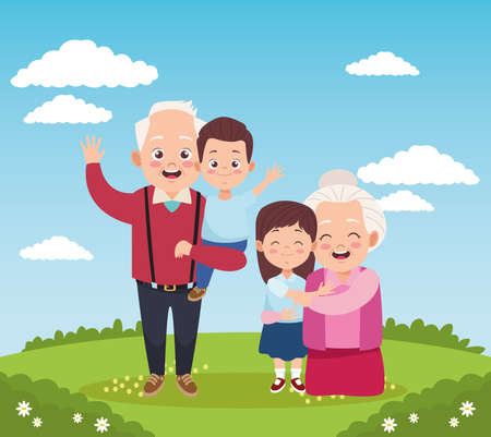 cute happy grandparents with little kids in the camp vector illustration design