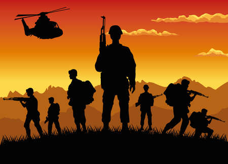 military soldiers with guns and helicopter silhouettes sunset scene vector illustration design Ilustração