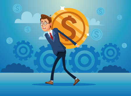 elegant businessman with lifting coin financial icon vector illustration design
