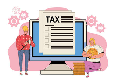 young couple with tax and desktop vector illustration design