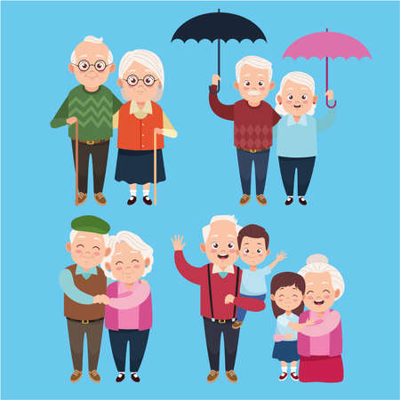 cute happy grandparents with little kids characters vector illustration design