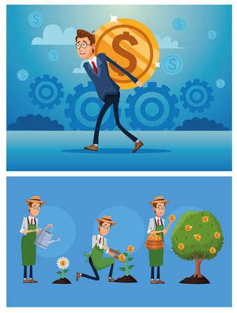 businessmen cultivating money plants characters vector illustration design Ilustracja