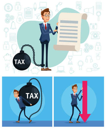 elegants businessmen with tax shackle and financial icons vector illustration design Vecteurs