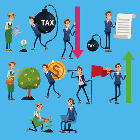 elegants businessmen with tax shackle and financial icons vector illustration design Ilustracja