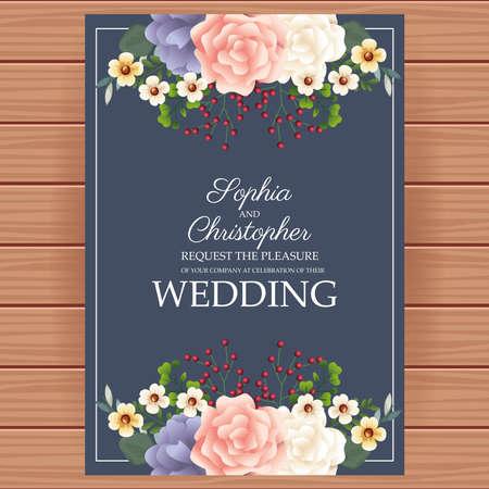 wedding Invitation with square floral frame and wooden background vector illustration design Illustration