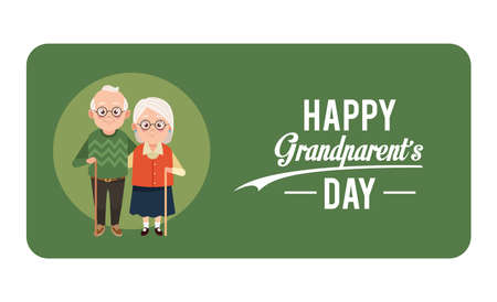 happy grandparents day card with old couple vector illustration design