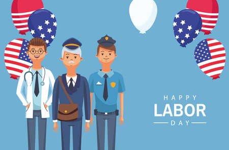 happy labor day celebration with workers balloons helium vector illustration design 矢量图像