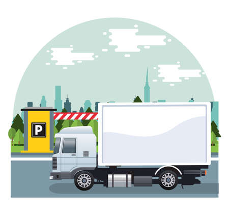 white truck car vehicle in the parking zone vector illustration design
