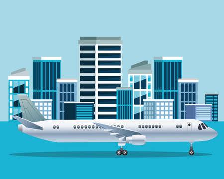 white airplane transport in the airport cityscape scene vector illustration design