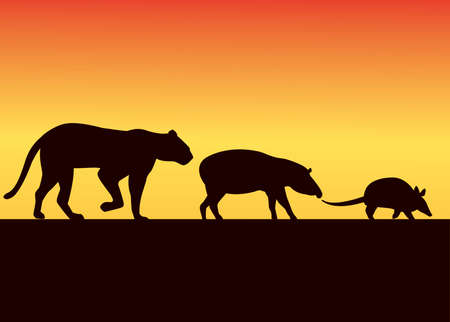 group of wild animals silhouettes in the sunset landscape vector illustration design