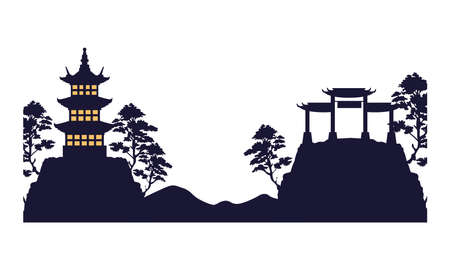 japanese archs and castle monuments architecture vector illustration design