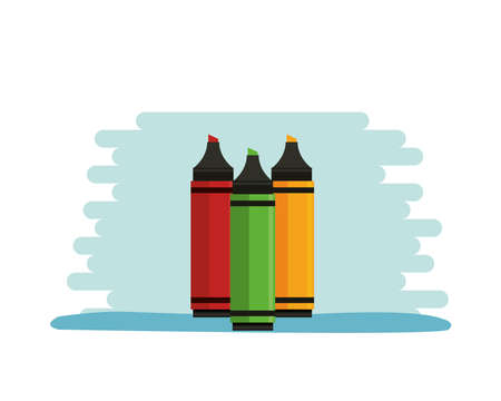 markers colors supplies isolated icons vector illustration design