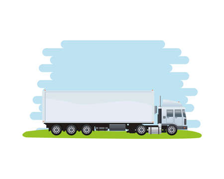 white truck vehicle brand isolated icon vector illustration design