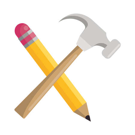 hammer construction tool with pencil crossed vector illustration design