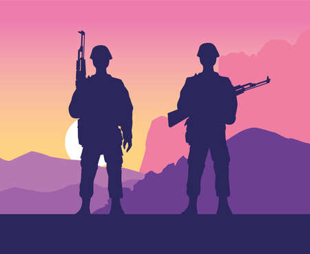 soldiers figures silhouettes at sunset scene vector illustration design