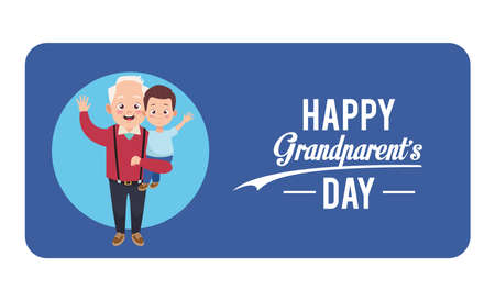happy grandparents day card with grandfather and grandson vector illustration design