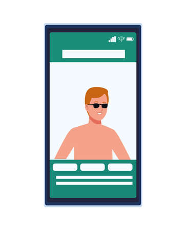 man wearing beach suit with sunglasses in smartphone vector illustration design