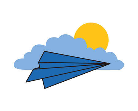 paper airplane flying with cloud and sun vector illustration design