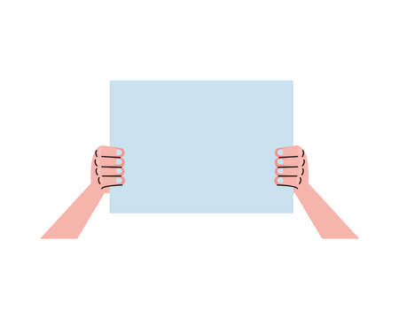 hand lifting protest placard icon vector illustration design