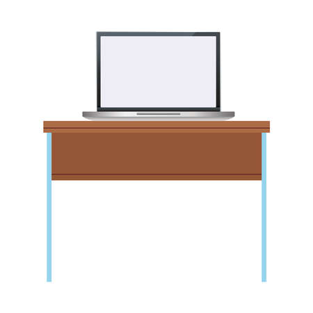 laptop computer portable device in table wooden vector illustration design