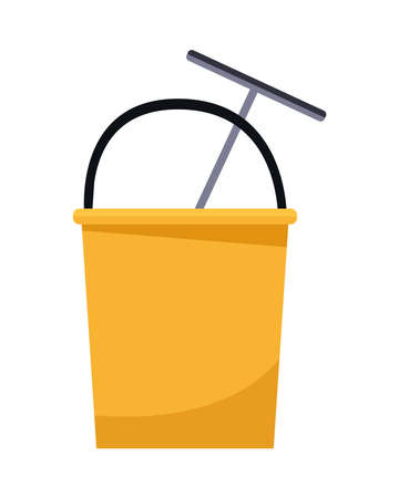 housekeeping bucket tool with cleaner wash brush vector illustration design