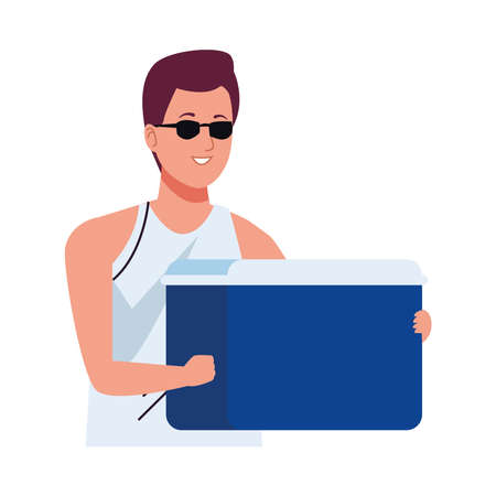 man wearing beach suit with fridge box character vector illustration design