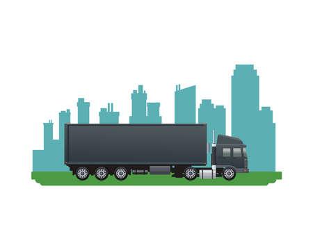 black truck car vehicle brand on the city vector illustration design