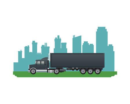 black truck vehicle brand on the city vector illustration design