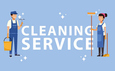 housekeeping couple workers with tools characters vector illustration design