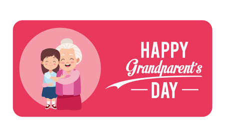 happy grandparents day card with grandmother and granddaughter vector illustration design Illustration