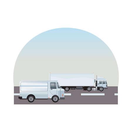 white truck and van vehicles on the road scene vector illustration design Illusztráció