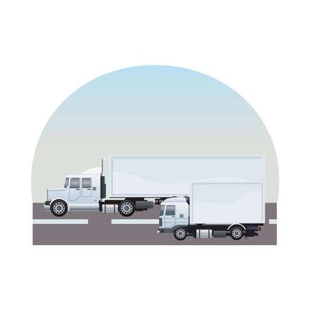 white trucks cars vehicles on the road scene vector illustration design