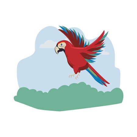 wild exotic macaw bird animal flying vector illustration design Stock Illustratie