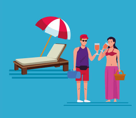 young couple wearing swimsuits drinking cocktails on the beach scene vector illustration design