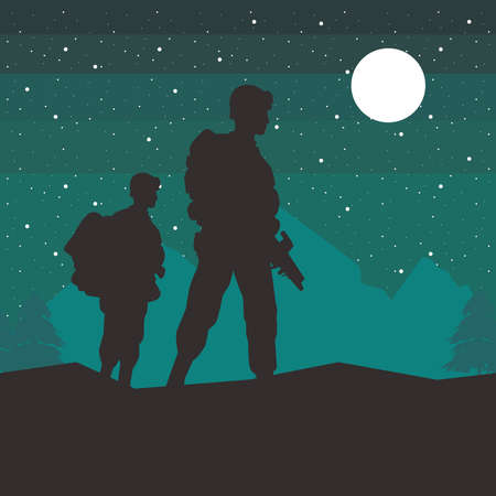 soldiers figures silhouettes at night scene vector illustration design