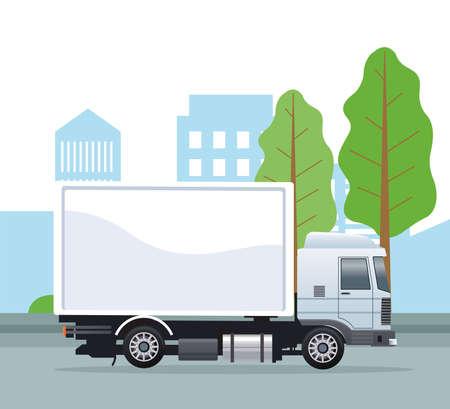 white truck car vehicle on the city scene vector illustration design Illusztráció